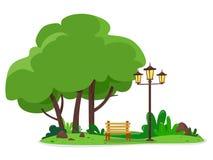 Un lugar acogedor en el parque de la ciudad con un banco y una lámpara de calle Ejemplo del vector de un estilo plano ilustración del vector