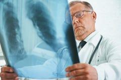 Un más viejo doctor está analizando imagen de la radiografía Imagen de archivo libre de regalías