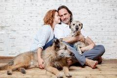 Un ménage marié heureux avec leurs chiens, un portrait de graine, amour, c Photos stock