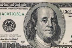 Un macro colpo di cento dollari di fattura Immagini Stock Libere da Diritti