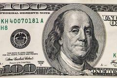 Un macro colpo di cento dollari di fattura Immagine Stock Libera da Diritti
