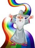 Un magicien près de l'arc-en-ciel illustration libre de droits