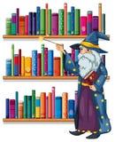 Un magicien tenant une baguette magique devant les étagères avec des livres illustration de vecteur