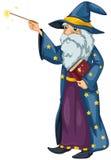 Un magicien tenant une baguette magique magique et un livre Photos libres de droits