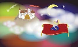 Un mago y su palacio stock de ilustración