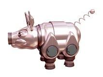 Un maiale è meccanico è metallico. 3D. Immagini Stock