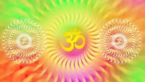 Un mandala tournant avec un signe d'Aum/OM/ohm dans des couleurs lumineuses illustration libre de droits