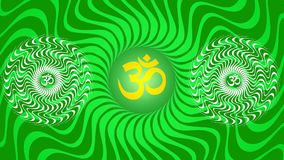 Un mandala tournant avec un signe d'Aum/OM/ohm dans des couleurs lumineuses - jaunes et vertes illustration libre de droits