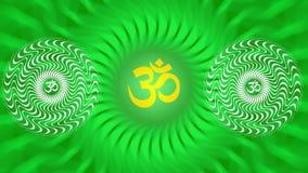 Un mandala tournant avec un signe d'Aum/OM/ohm dans des couleurs lumineuses - jaunes et vertes Rotation m?ditative de mod?le illustration libre de droits
