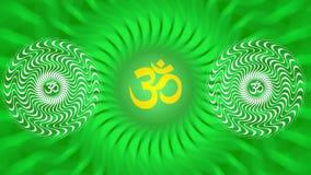 Un mandala tournant avec un signe d'Aum/OM/ohm dans des couleurs vert clair illustration libre de droits