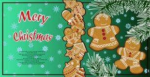 Un manifesto con un'illustrazione del pan di zenzero di Natale Fotografia Stock