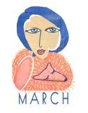 Un manifesto con una donna di 30 anni con un collare della pelliccia di volpe Un collage d'annata strutturato Un ritratto di una  Fotografia Stock