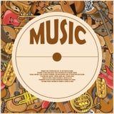 Un manifesto dalle illustrazioni degli strumenti musicali Immagini Stock Libere da Diritti