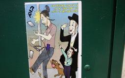 Un manifesto della via in vicinanza ebrea a Brooklyn Fotografia Stock Libera da Diritti