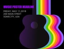 Un manifesto unico, insolito ed abile della chitarra immagini stock libere da diritti
