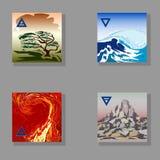 Un a mano disegno di quattro elementi (fuoco, acqua, terra, aria) Fotografie Stock Libere da Diritti