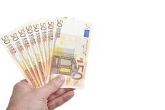 Un manojo de 50 notas euro Foto de archivo libre de regalías