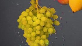 Un manojo de caídas verdes de las uvas en el agua con las burbujas en la cámara lenta Uvas verdes en agua Bayas en un gris almacen de video