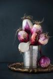 Un manojo de cebolla roja de Tropea en una lata Foto de archivo libre de regalías
