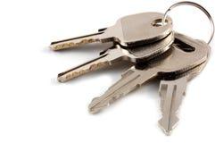 Un manojo de claves aislados Imagen de archivo libre de regalías