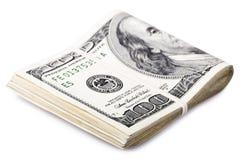 Doblado 100 cuentas de US$ Fotografía de archivo