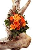 Un manojo de flores en blanco en tocón de árbol fotografía de archivo libre de regalías
