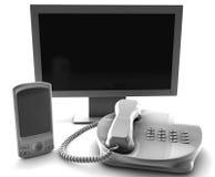 Un manojo de la célula de la TV y el arreglo telefonan Fotos de archivo