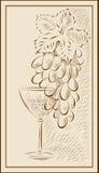 Un manojo de uvas y de un vidrio de vino stock de ilustración
