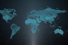Un mapa del mundo con las ubicaciones simbólicas de los servidores del ` s de la compañía ilustración del vector