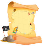 Un mapa del tesoro al lado de la bandera y de la espada ilustración del vector