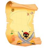 Un mapa del tesoro con un cráneo y espadas agudas stock de ilustración