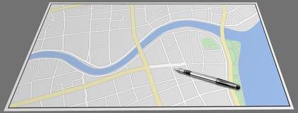 Un mapa y una pluma Foto de archivo