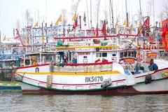 Un mar de los barcos de pesca Imagen de archivo libre de regalías
