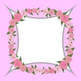 Un marco cóncavo cuadrangular adornado con la guirnalda de rosas con las hojas de diversos tamaños con el espacio para el texto b stock de ilustración