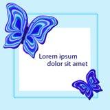 Un marco cuadrado con las mariposas abstractas en tonos azules ilustración del vector