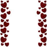 Un marco de corazones rojos Fotos de archivo libres de regalías