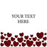 Un marco de corazones rojos Foto de archivo libre de regalías