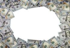 Un marco hecho de 100 billetes de dólar en el fondo blanco Imágenes de archivo libres de regalías