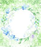 Un marco redondo de la acuarela, una postal, una guirnalda de las flores, ramitas, plantas, bayas Ilustraci?n de la vendimia Uso  ilustración del vector