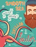 Un mare liscio non ha fatto mai in un'illustrazione esperta del marinaio, progettazione disegnata a mano del manifesto Fotografie Stock