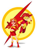 Un maschio e un supereroe femminile Immagini Stock Libere da Diritti