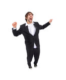Un maschio felicemente di salto Fotografie Stock