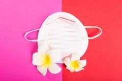 Un masque protecteur sur le fond rose et rouge avec les fleurs exotiques Images libres de droits