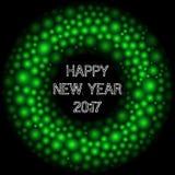 Un massaggio felice di 2017 nuovi anni Confine rotondo astratto Backgro delle cellule Immagini Stock Libere da Diritti