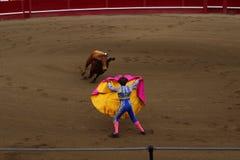 Un Matador Luring un Taureau Photos libres de droits