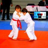 Un match dans un concours national de judo Photo stock