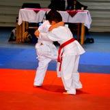 Un match dans un concours national de judo Image libre de droits