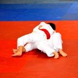 Un match dans un concours national de judo Photos stock