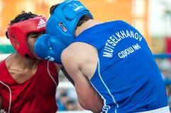 Un match de boxe Osleys Iglesias, Cuba et Salah Mutselkhanov, Russie Victory Osleys Iglesias Photographie stock