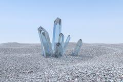 Un mazzo del cristallo magico blu si riunisce insieme, rappresentazione 3d illustrazione di stock